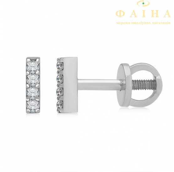 Золотые серьги-пуссеты с бриллиантом (102-10069) - 1