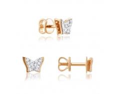 Золотые серьги-пуссеты с фианитом (0433G)