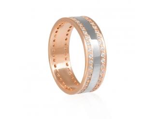 Золотое обручальное кольцо с фианитом (1088-1-14-1-13)