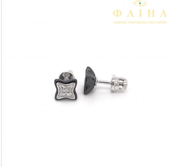 Серебряные серьги-пуссеты (2629ч053) - 1