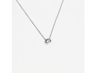 Серебряная цепь-колье  с фианитом (Кл2Ф/415)