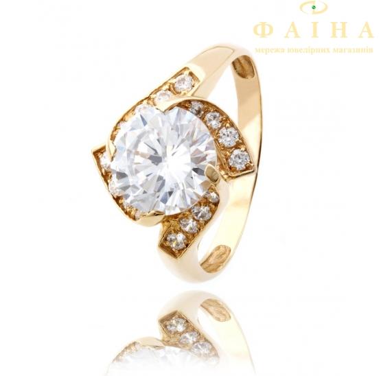 Золотое кольцо с фианитом (474) - 1