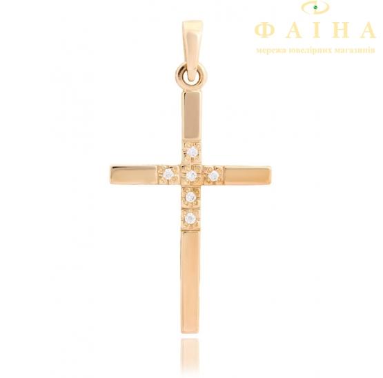 Золотой крест с фианитом (3123006) - 1