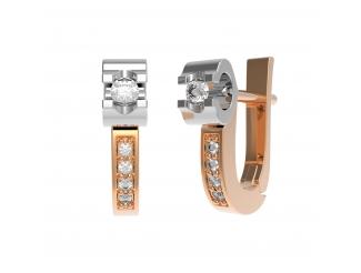 Золотые серьги с бриллиантом (22232)