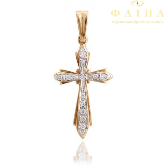 Золотой крест с фианитом (А6) - 1