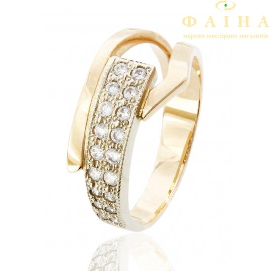 Золотое кольцо с фианитом (1136018) - 1
