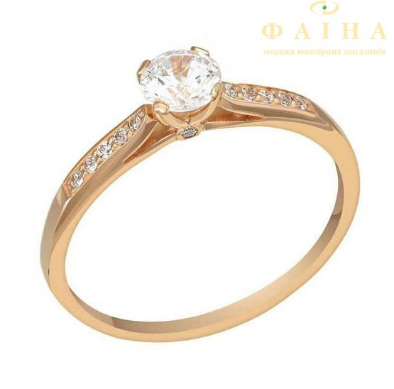 Золотое кольцо с фианитом (1101018101) - 1