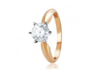 Золотое кольцо с фианитом (4138Sw)