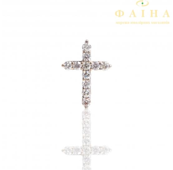 Золотой крест с бриллиантом (092б) - 1