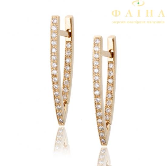 Золотые серьги с фианитом (2049046) - 2