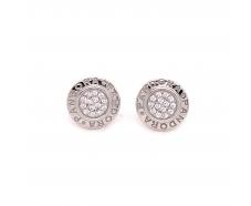 Серебряные серьги-пуссеты с фианитом (2624519)