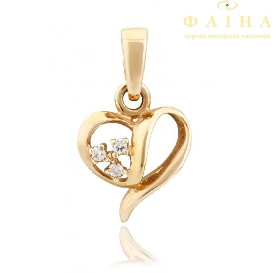 Золотой кулон с фианитом (3087003) - 1