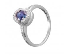 Золотое кольцо с бриллиантом и сапфиром (36130390)