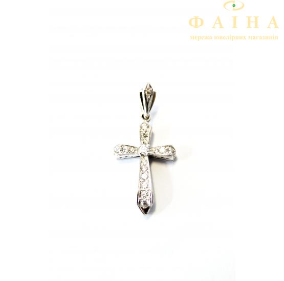 Золотой крест с бриллиантом (104-020б) - 1