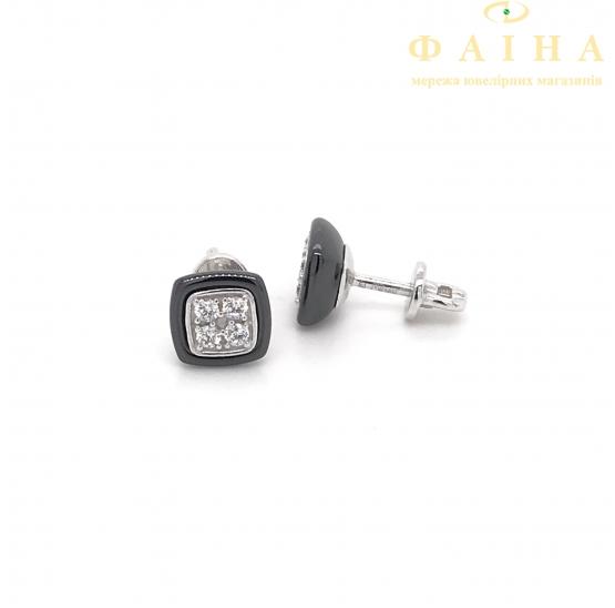 Серебряные серьги-пуссеты (2629ч052) - 1