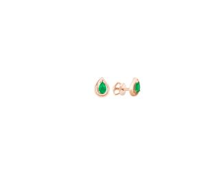Золотые серьги-пуссеты с изумрудом (2572из)