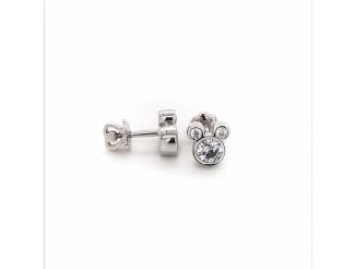 Серебряные серьги-пуссеты с фианитом (т262663)