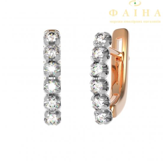 Золотые серьги с бриллиантом (22875) - 1