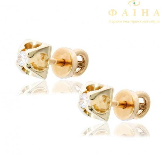 Золотые серьги-пуссеты с фианитом (2222002) - 3