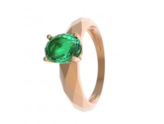 Золотое кольцо с изумрудом (11880)