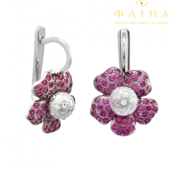 Золотые серьги с бриллиантом (с цветок) - 1