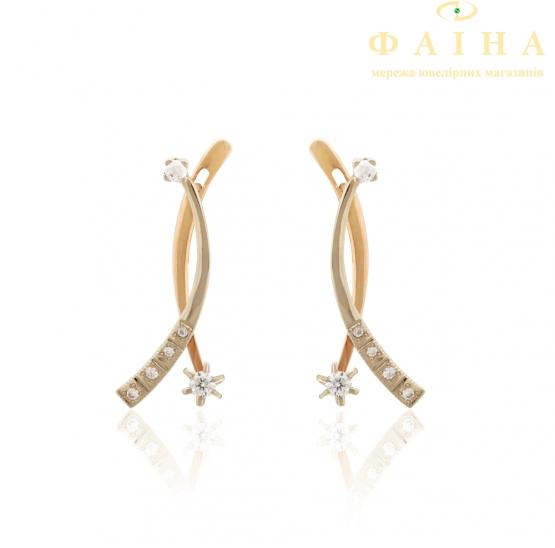 Золотые серьги с фианитом (2147012) - 1