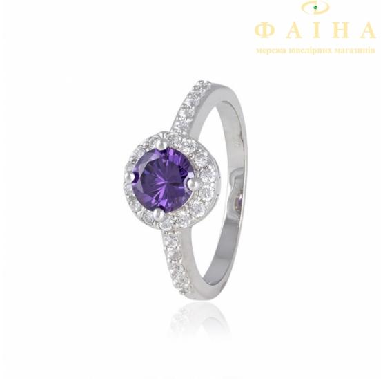 Серебрянное кольцо с цирконием (КК2ФА/437) - 1