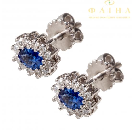 Золотые серьги-пуссеты с бриллиантом и сапфиром (С-1-12сф) - 1