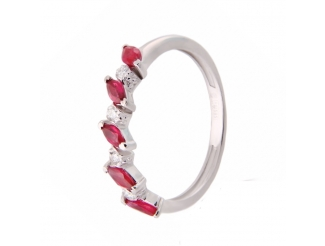 Золотое кольцо с бриллиантом и рубином (гусеница р б)
