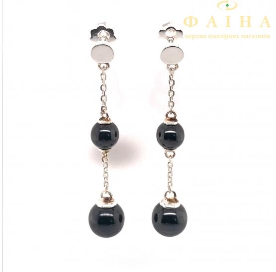 Серебряные серьги-пуссеты (2619ч050) - 1
