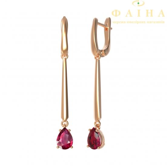 Золотые серьги с рубином (22991р) - 1