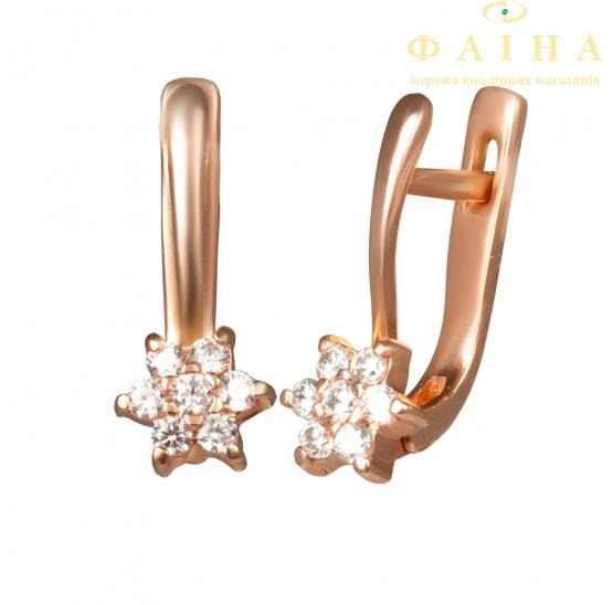 Золотые детские серьги с фианитом (2337014) - 1