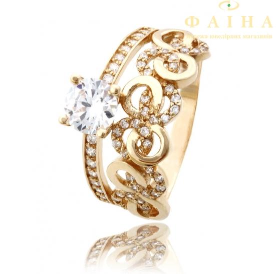 Золотое кольцо с фианитом (819) - 1