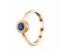 Золотое кольцо с бриллиантом и сапфиром (1124)