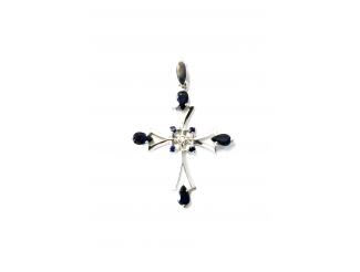 Золотой крест с бриллиантом и сапфиром (3813)