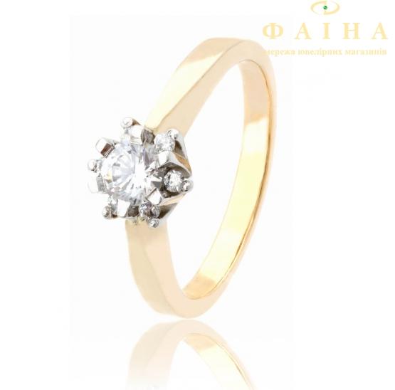 Золотое кольцо с фианитом (177) - 1