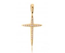 Золотой крест с бриллиантом (007)