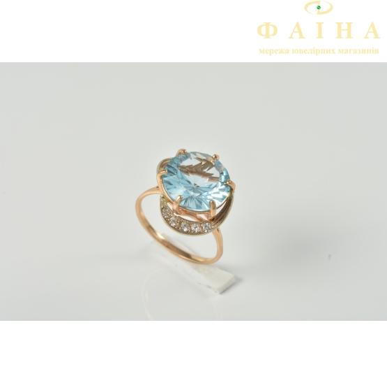 Золотое кольцо с топазом и фианитом (112-1193т) - 1
