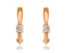 Золотые серьги с бриллиантом (с2094)