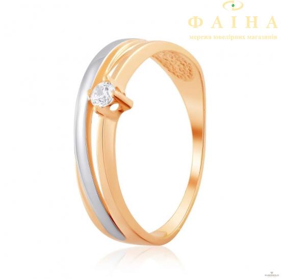 Золотое кольцо с фианитом (4201Sw) - 1