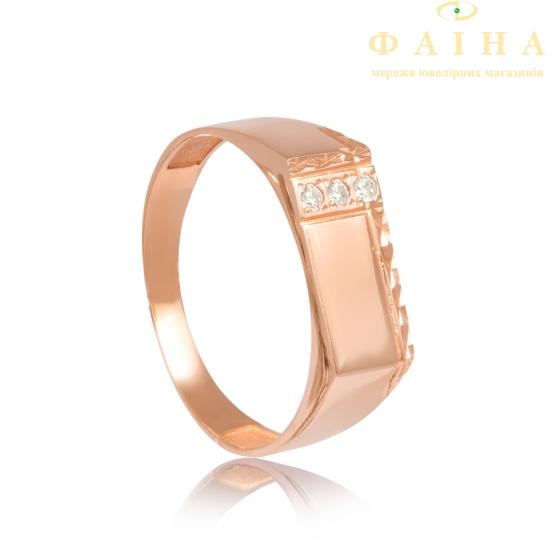 Золотое кольцо-печать с фианитом (883) - 1