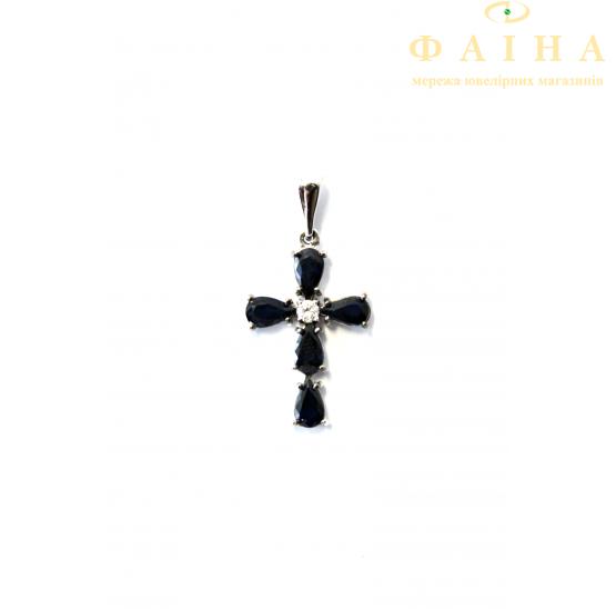 Золотой крест с бриллиантом и сапфиром (175с) - 1