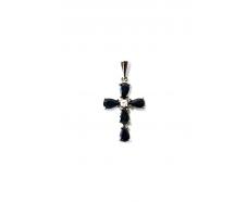 Золотой крест с бриллиантом и сапфиром (175с)