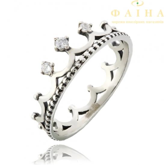 Серебряное кольцо с фианитом (3732корона) - 1