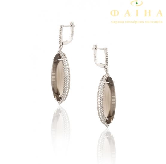 Серебрянные серьги с подвесками (17св12шамп) - 2
