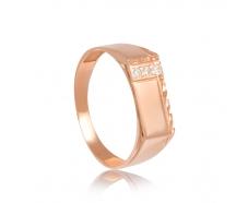 Золотое кольцо-печать с фианитом (883)