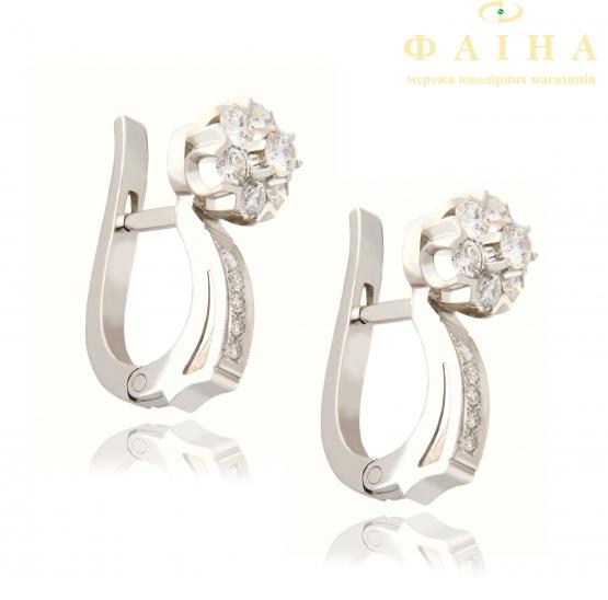 Золотые серьги с бриллиантом (малинка 1б) - 1