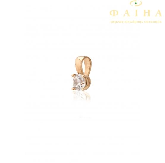 Золотой кулон с фианитом (4100Sw) - 1