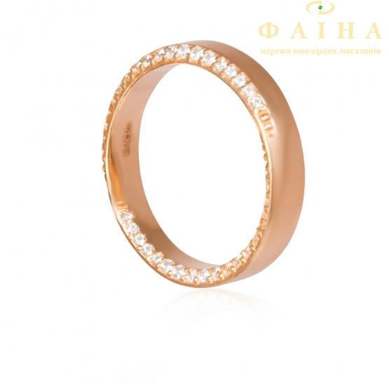 Золотое обручальное кольцо с фианитом (1005) - 1
