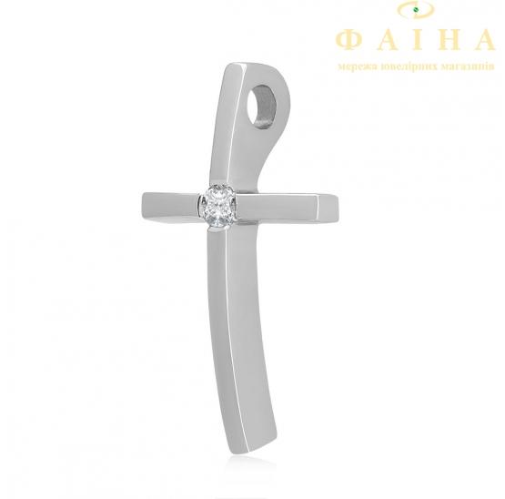 Золотой крест с бриллиантом (104-10031б) - 1